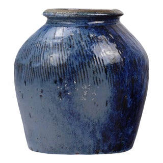 Asian Modern Blue Ceramic Jar For Sale
