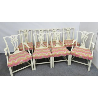 Custom Chippendale Cream Painted Dining Chairs - Set of 8 Preview