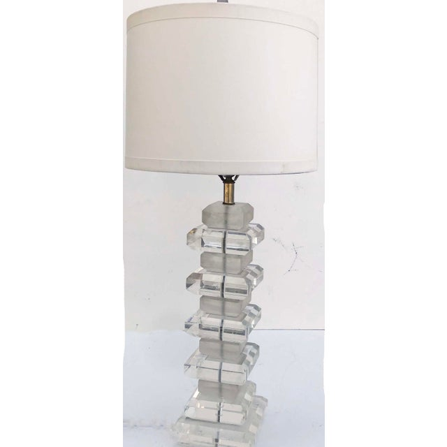 1970s Karl Springer Style Lucite Table Lamp For Sale - Image 5 of 5