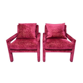 Milo Baughman Parsons Club Lounge Chairs in Velvet - A pair