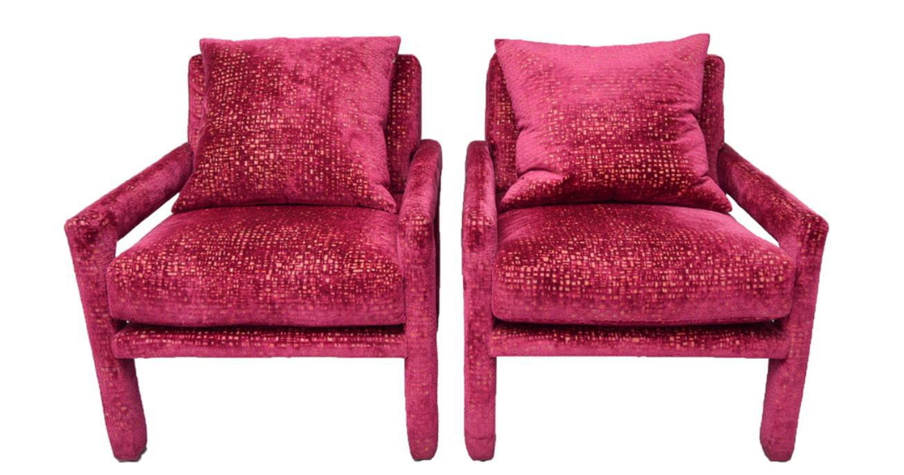Milo Baughman Parsons Club Lounge Chairs In Velvet   A Pair