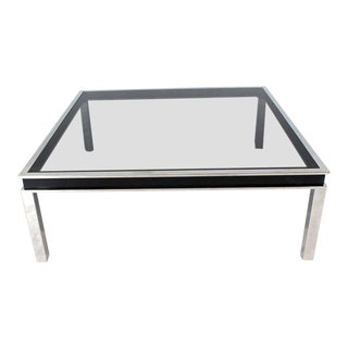 1970s Extra Large Polished Chrome Square Smoked Glass Coffee Table For Sale