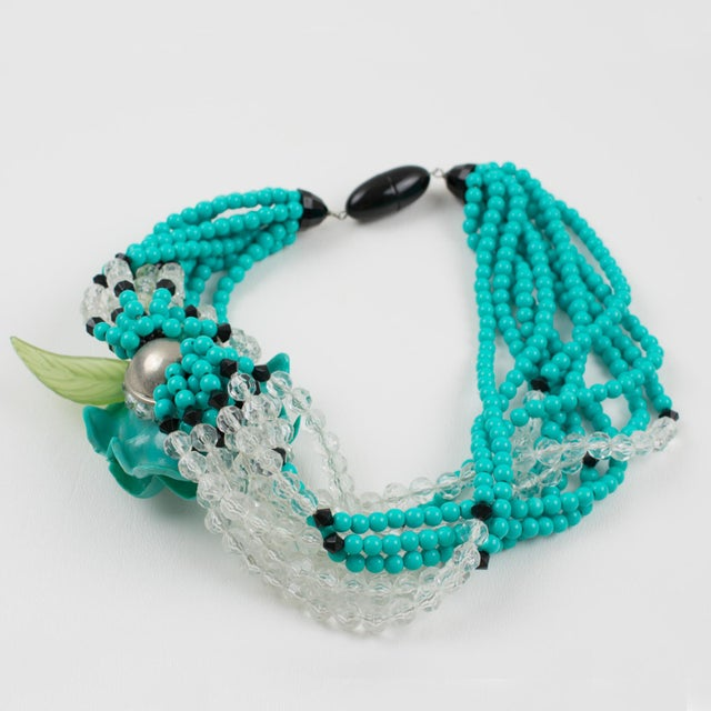 Angela Caputi Turquoise and Black Resin Necklace with Oversized Flower For Sale - Image 9 of 13
