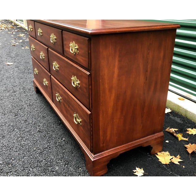 Traditional Henkel Harris Solid Cherry Long Dresser For Sale - Image 3 of 13