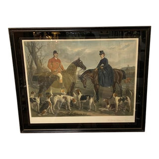 "1870s Large English Engraving of ""The Earl and Countess of Coventry,"" Hunt Scene For Sale"