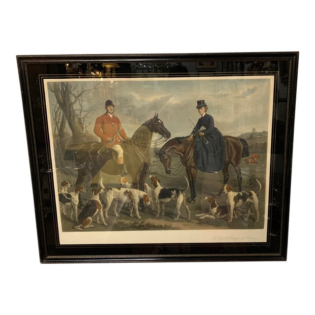 """1870s Large English Engraving of """"The Earl and Countess of Coventry,"""" Hunt Scene For Sale"""