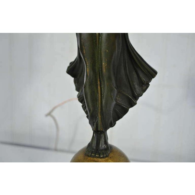 18th Century 19th Century French Gilt Bronze & Marble Neoclassical Style Figural Maiden Table Lamp For Sale - Image 5 of 11