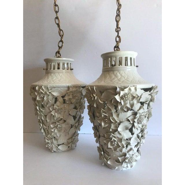Asian 1960's Italian Blanc De Chine Floral Ceramic Pendant Lights For Sale - Image 3 of 13