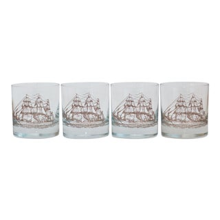 1950s Nautical Clipper Ship Lowball Glasses - Set of 4 For Sale