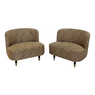 1940s Vintage Rohde Haines Style Art Deco Leopard Tufted Barrel Slipper Chairs- A Pair For Sale