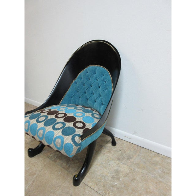 Hollywood Regency Hollywood Regency Style Modern Scoop Back Fireside Lounge Club Chair For Sale - Image 3 of 10