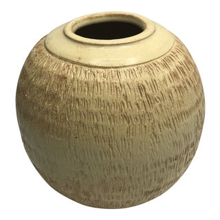 1960s Brutalist Studio Pottery Vase or Cachepot Signed For Sale