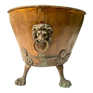 English Copper Coal or Log Bucket, 19th Century For Sale