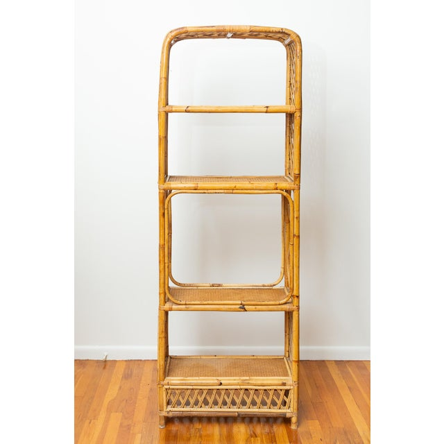 1960s Boho Chic Bamboo and Wicker Rattan Etagere For Sale - Image 11 of 11