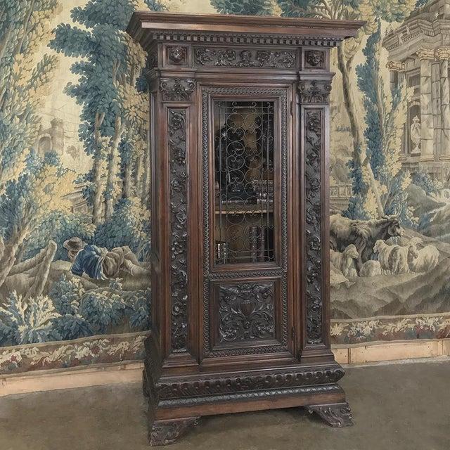 Italian Antique Italian Renaissance Walnut Curio Cabinet For Sale - Image 3 of 13