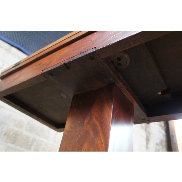 Antique American Empire Flame Mahogany Swivel Game Console Table For Sale - Image 11 of 13