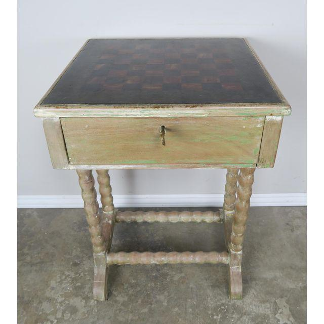 Vintage English Checkerboard Top Game Table For Sale - Image 5 of 10