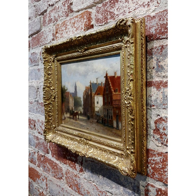 Brown Johannes Frederick II Hulk -19th C. Early Market Day in Amsterdam-Oil Panting For Sale - Image 8 of 11