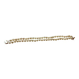 New Double Strand Real Pearl Bracelet With 14 Karat Gold Clasp For Sale