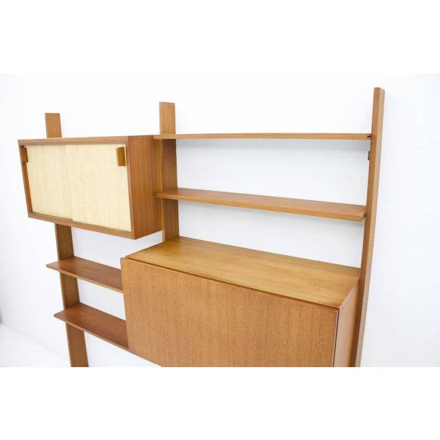 1950s Dieter Waeckerlin Teak Shelf With Seagrass Sliding Doors With a Bar or Desk, 1950s For Sale - Image 5 of 10