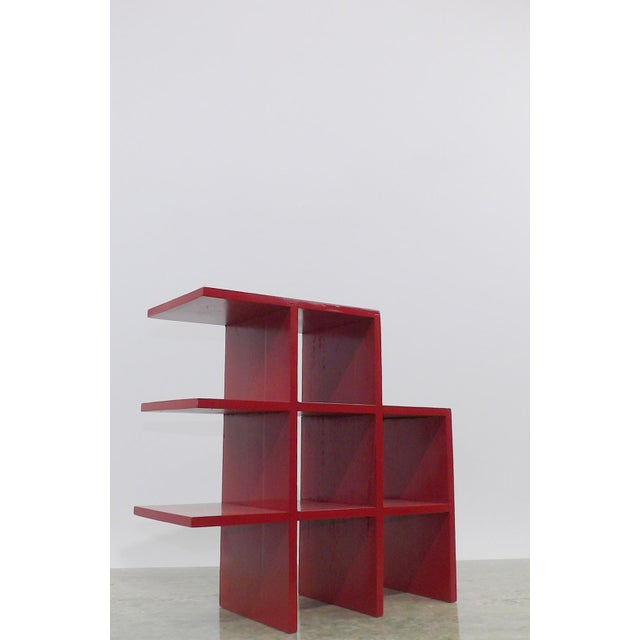 Mid-Century Modern Red Wood Tabletop/Hanging Shelf For Sale - Image 3 of 8
