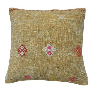 Yellow Kilim Rug Pillow Cover, Sofa Pillow Cushion Case, For Sale