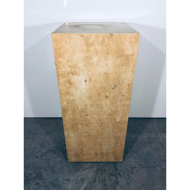 Parchment squares with semi gloss finish over pressed wood display pedestal table. Unique decorative piece.