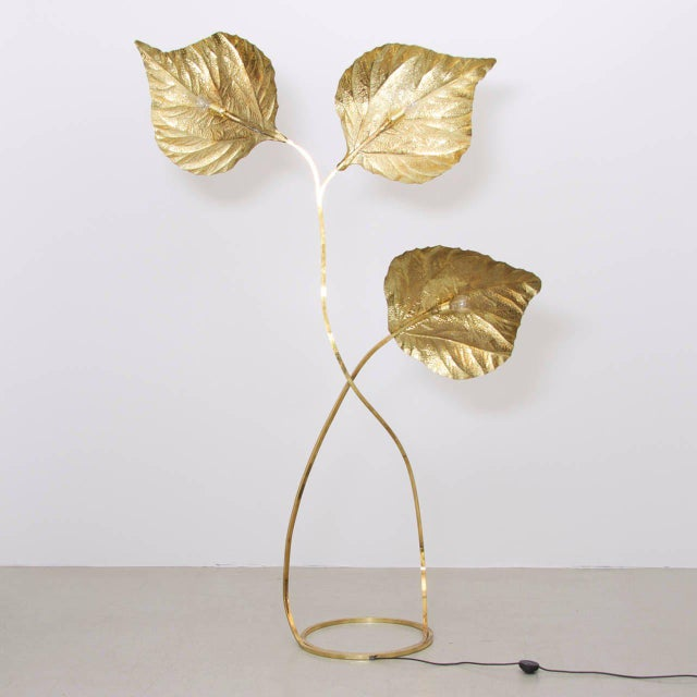 1970s Extraordinary Huge Rhubarb Leaves Brass Floor Lamp by Tommaso Barbi For Sale - Image 5 of 5