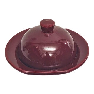 Hand Painted Burgundy Moroccan Ceramic Serving Dish For Sale