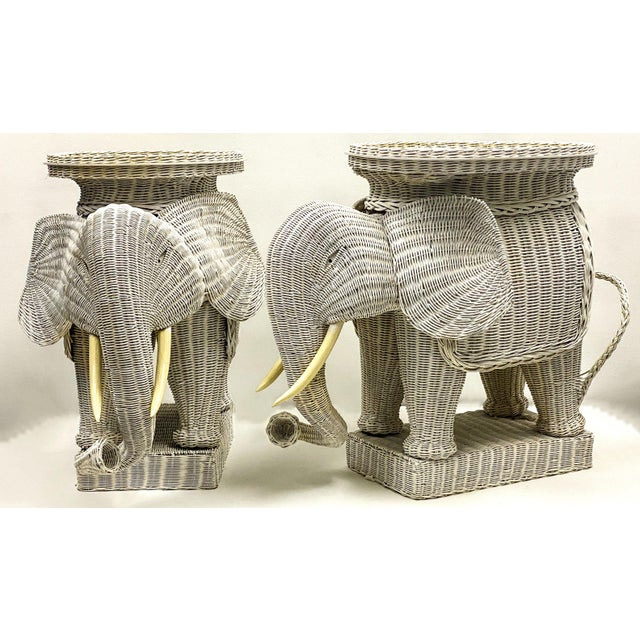 Mid 20th Century Pair of Large Scale Wicker Elephant Side Tables For Sale - Image 5 of 5