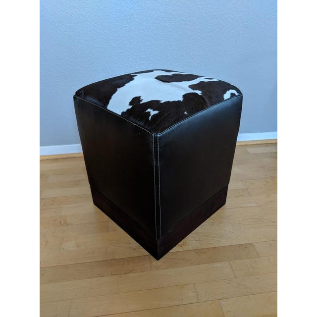 Modern Leather & Hide Low Stool For Sale In San Francisco - Image 6 of 6