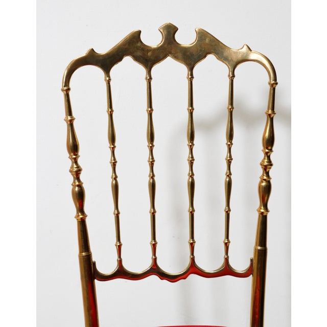 Chiavari Chiavari Polished Brass Chair With Red Velvet, Italy, 1960s For Sale - Image 4 of 10