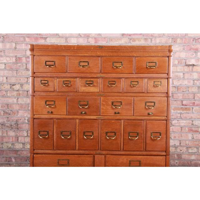 Antique Oak 24-Drawer Card Catalog File Cabinet, Circa 1920s For Sale - Image 4 of 13