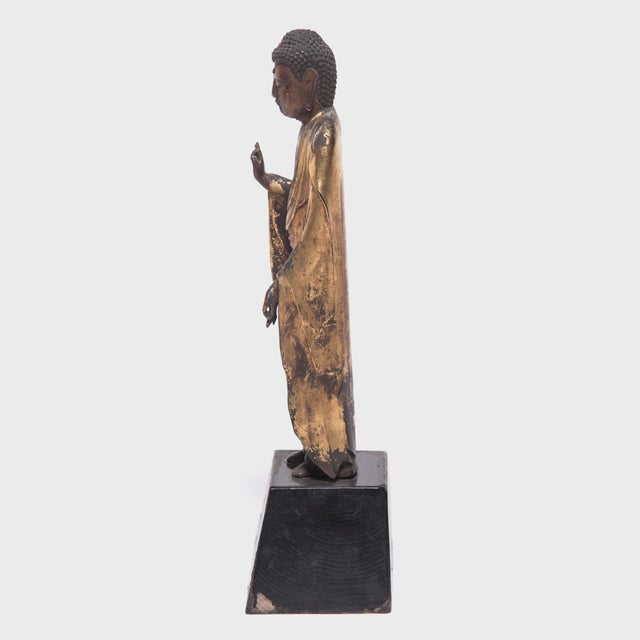 Asian 19th Century Japanese Gilt Standing Buddha For Sale - Image 3 of 6