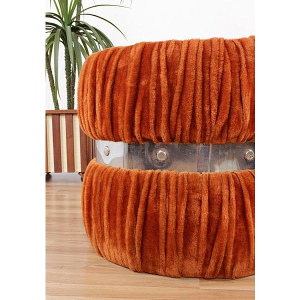 Vintage Fuzzy Orange Mirrored End Tables - Pair - Image 4 of 6