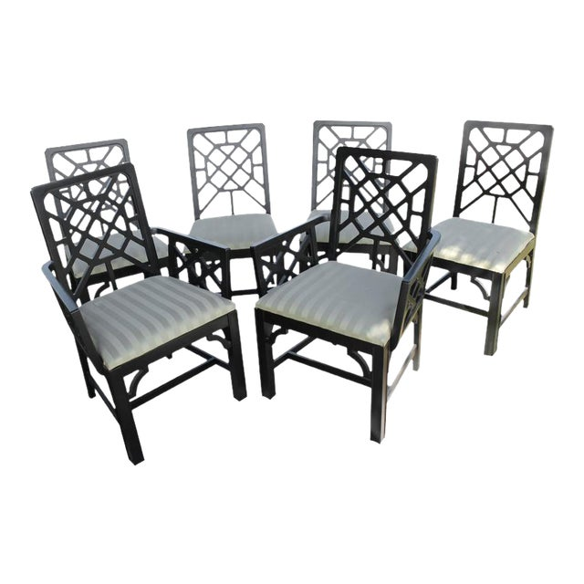 Fretwork Chinese Chippendale Dining Chairs - Set of 6 - Image 10 of 10