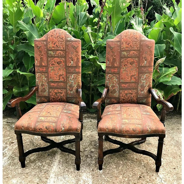 Fabric 1980s Modern High Back Side Arm Chairs - a Pair For Sale - Image 7 of 7
