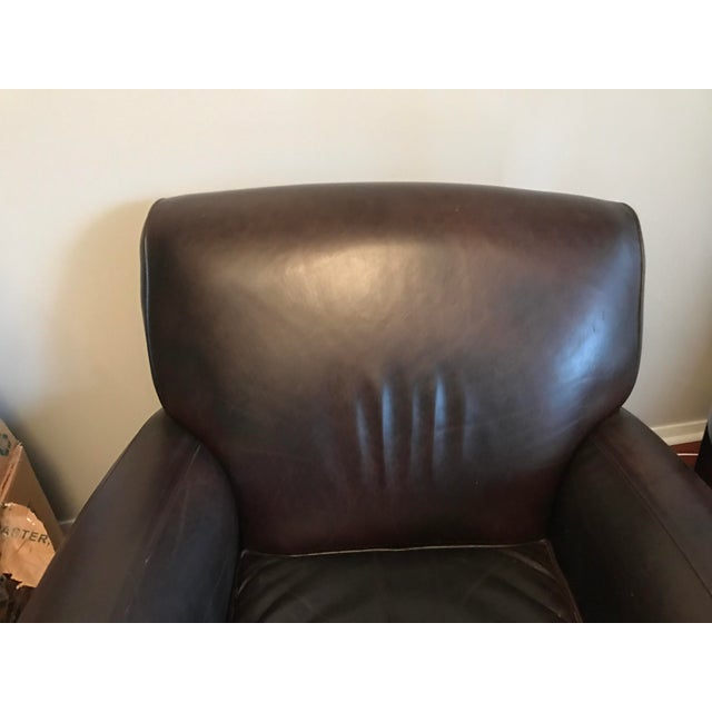 Pottery Barn Manhattan Leather Chair Amp Ottoman Chairish