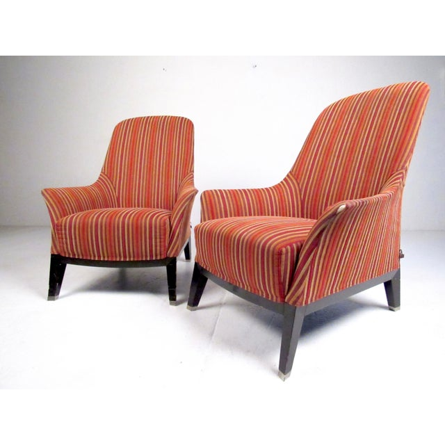 Italian Pair Massimo Scolari Lounge Chairs by Giorgetti For Sale - Image 3 of 13