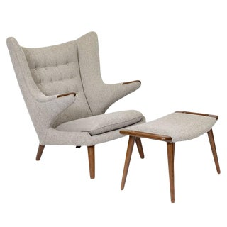 "Hans Wegner ""Papa Bear"" Chair and Footstool For Sale"