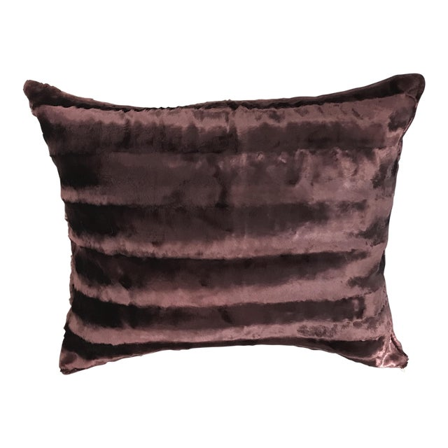 High Shine Chocolate Brown Faux Mink Rectangular Pillow For Sale