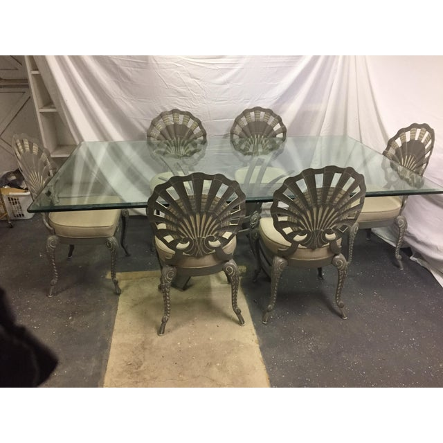 Shell Back Grotto Cast Aluminum Chairs & Glass Top Table - Image 6 of 8