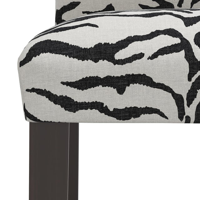 Not Yet Made - Made To Order Bar stool in Linen Zebra Cream Black For Sale - Image 5 of 8