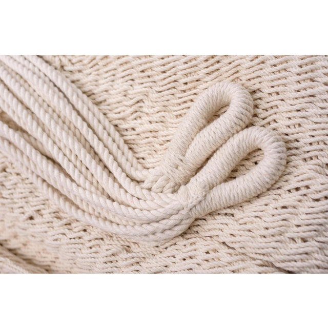 Handmade Handmade Deluxe Natural Cotton Hammock with Hue Inspired Tassels with Wooden Bar For Sale In Miami - Image 6 of 7
