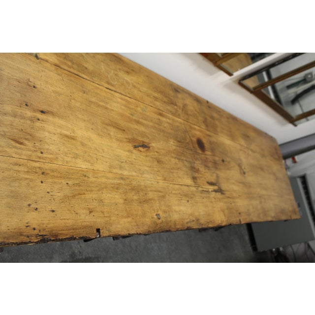 Country Extra Long Beech Farmhouse Dining Table With Iron Base For Sale - Image 3 of 6