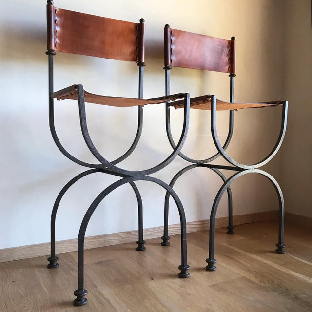 Rare Vintage Restored Hand Forged Solid Iron Campaign Safari Spanish Saddle Leather Rustic Neoclassical Bar Stools - a Pair For Sale - Image 9 of 13