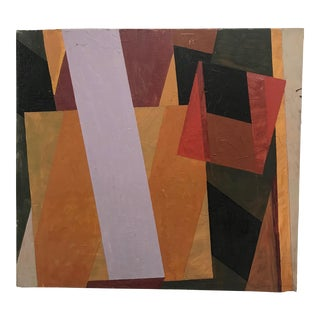 1970s Mid Century Geometric Abstract Painting For Sale