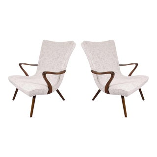 Scandinavian Modern High Back Winged Armchairs - a Pair For Sale