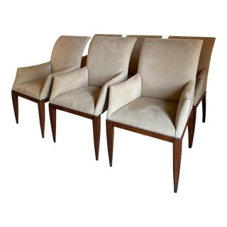"Dessin Fournir ""Werth"" Arm Dining Chairs- Set of 6 For Sale"