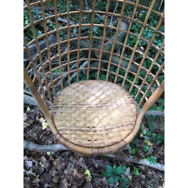 1970s 1970s Vintage Rattan Hanging Chair For Sale - Image 5 of 11